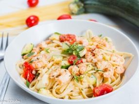 Linguine aux crevettes courgettes et citron recette facile