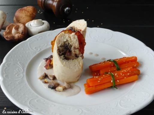 Ballotine de volaille champignons et foie gras