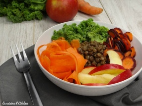 buddha bowl chou kale lentilles carottes pommes