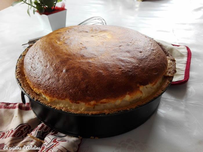 tarte au fromage blanc à la sortie du four