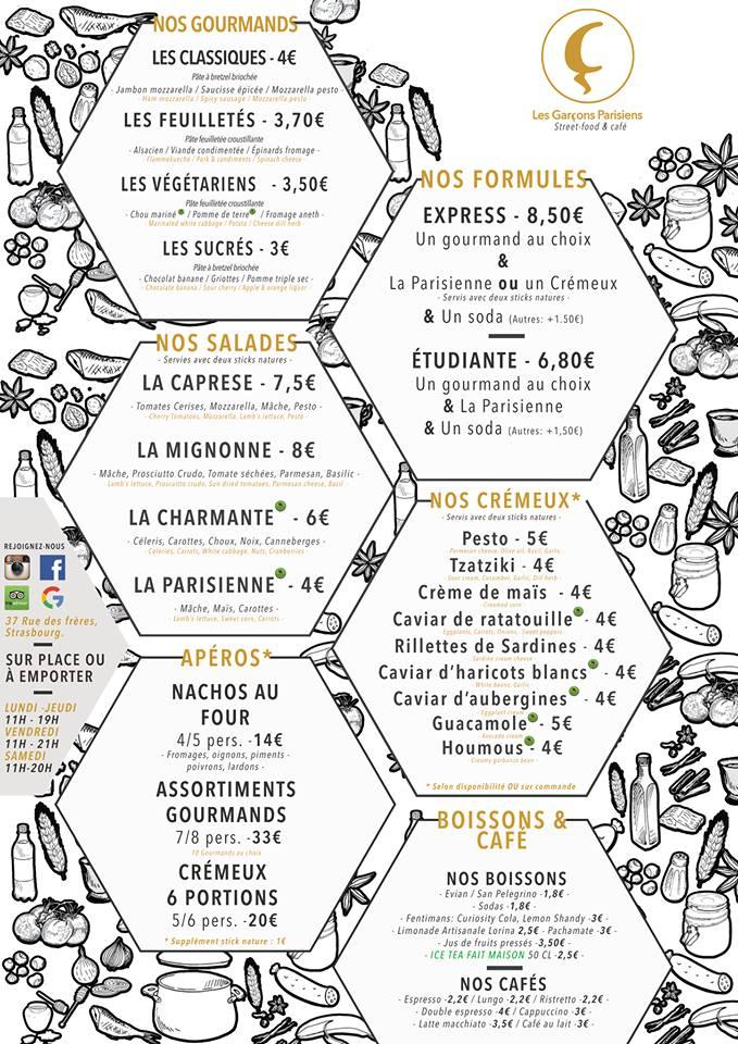 carte et menus les garçons parisiens strasbourg