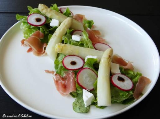 salade d'asperge jambon et chèvre