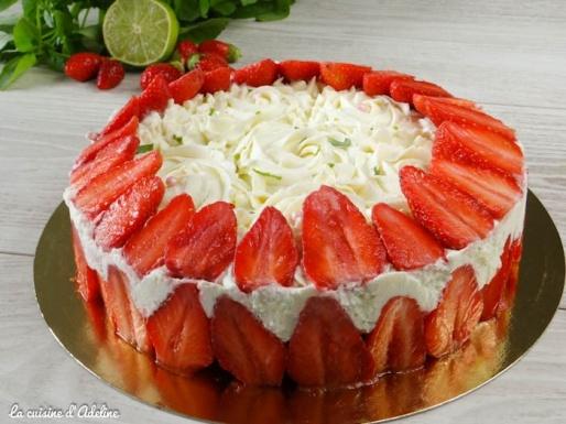 fraisier mascarpone citron basilic