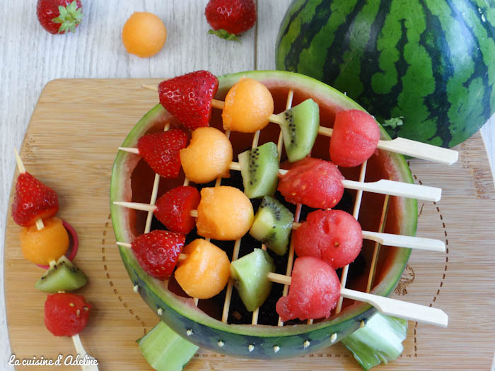 barbecue pasteque brochettes de fruits