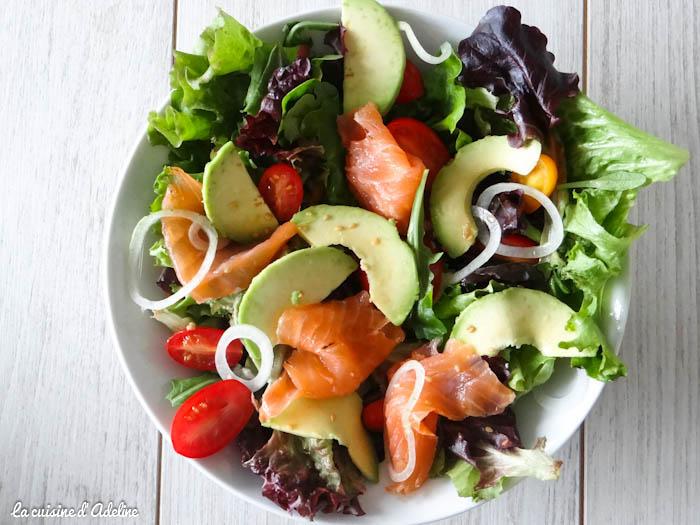 salade saumon fumé avocat tomate