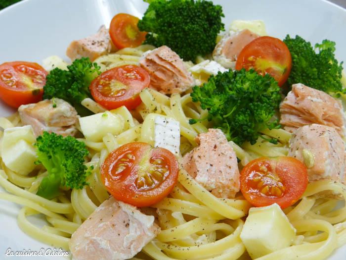 pâtes au brocolis, saumon et tomate