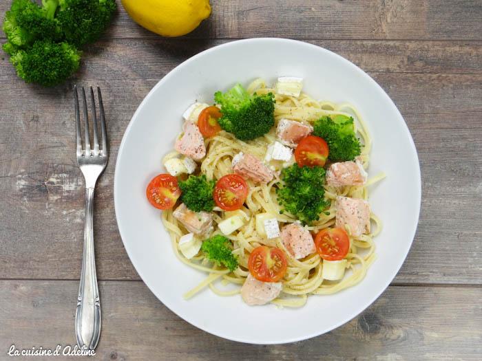Pâtes au brocolis au saumon, tomate et fromage