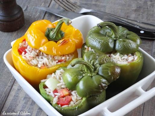 Poivron farcis végétarien aux riz et aux légumes