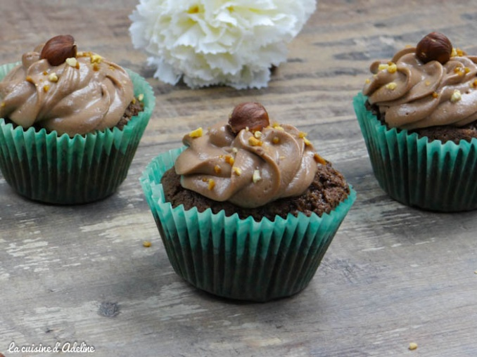 Cupcakes chocolat noisette topping Nutella