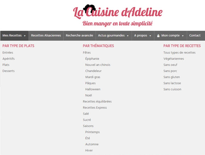 Menu accueil - La Cuisine d'Adeline - Nouveautés 2017