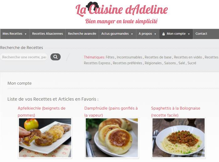 Mon compte - La Cuisine d'Adeline - Nouveautés 2017