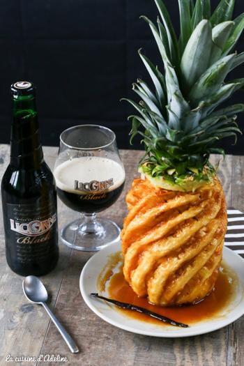 Ananas caramélisé à la bière rôti au four recette