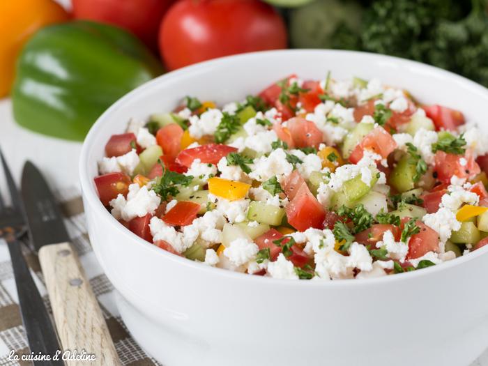 Salade shopska tomate poivron concombre oignon