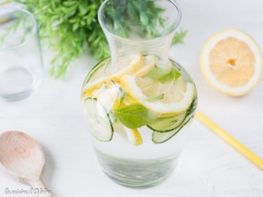Detox water citron basilic concombre - Eau détox pour l'été