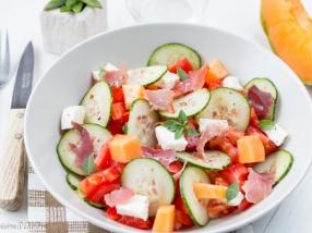 Salade de concombre tomate melon et mozzarella recette équilibrée