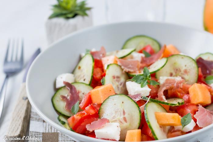 Salade de concombre tomate melon et mozzarella recette