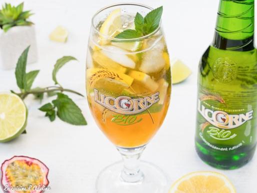 Cocktail exotique à la bière (citron passion menthe) Licorne bio recette