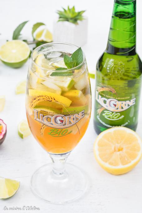 Cocktail exotique à la bière (citron passion menthe) Licorne Bio