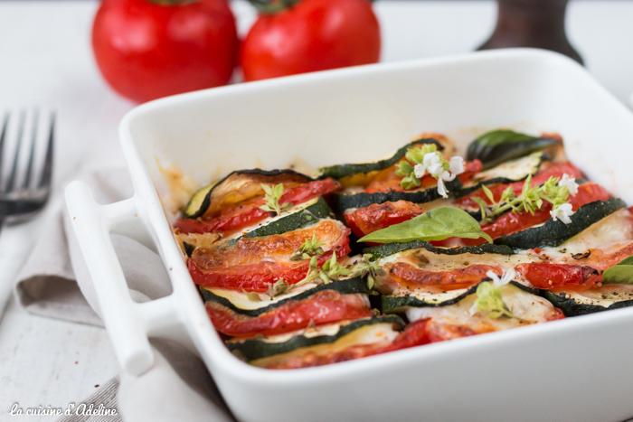 Gratin de courgette tomates aubergine mozzarella