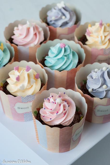 Cupcakes chocolat aux couleurs des princesses Disney recette
