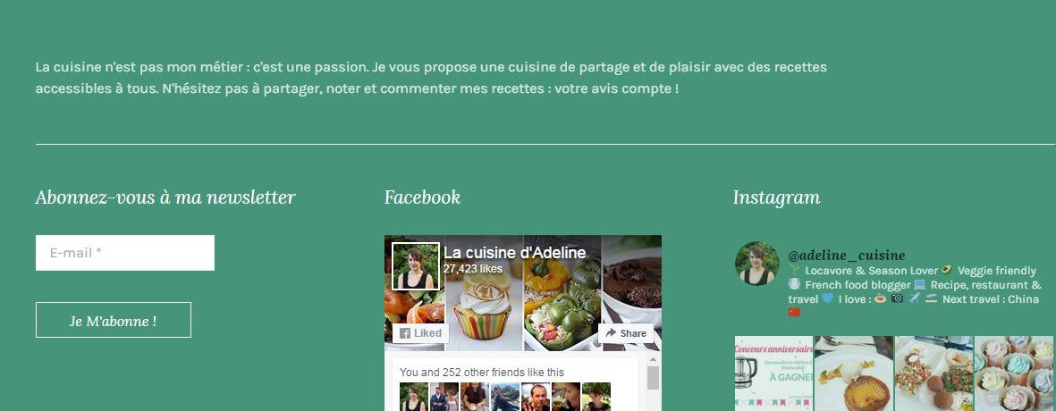 Inscription newsletter - La cuisine d'Adeline