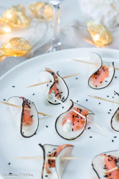 Bouchées de radis noir au saumon - Recette apéritive