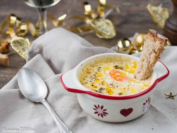 Oeuf cocotte au foie gras recette Noël