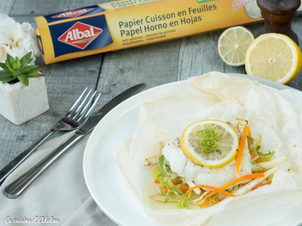 Papillote de cabillaud aux légumes et citron recette facile