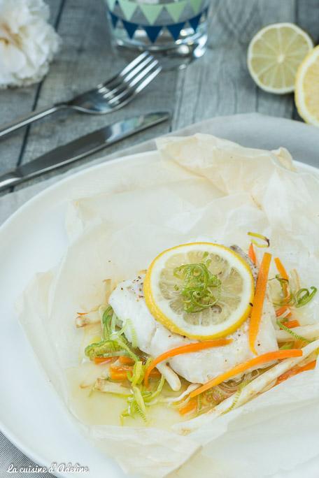 Papillote de cabillaud aux légumes et citron recette rapide