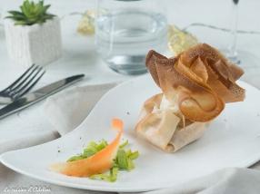 Aumônière aux noix de st jacques crevettes et légumes recette