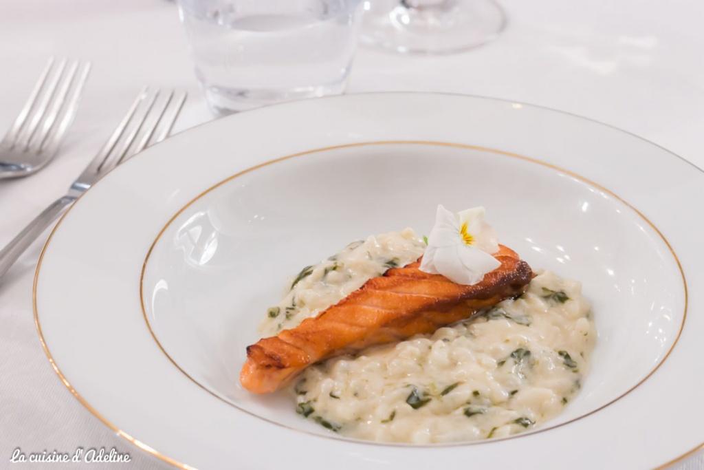 Risotto et saumon cuisson unilatérale - Au Relais du bois Mertzwiller
