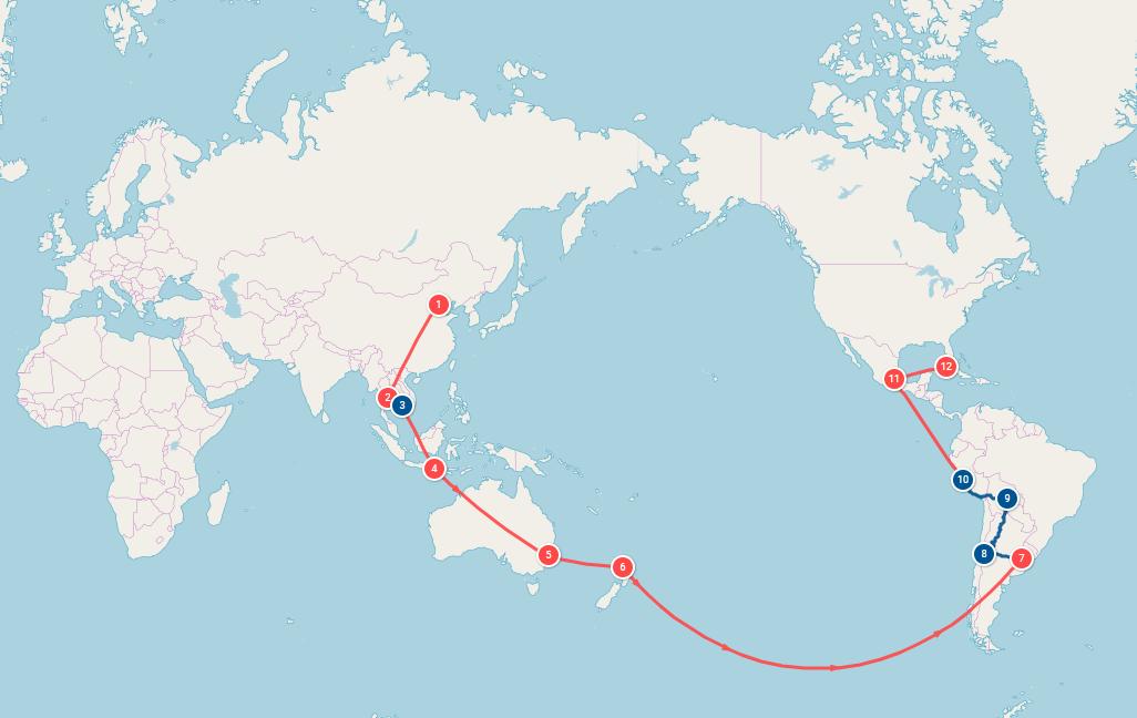 Tour du monde - Notre itinéraire (La cuisine d'Adeline)