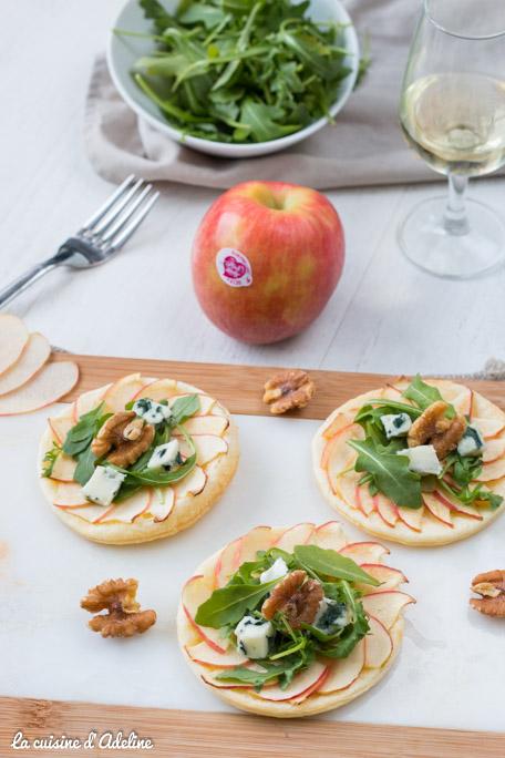 Tarte fine aux pommes roquefort et noix pink lady
