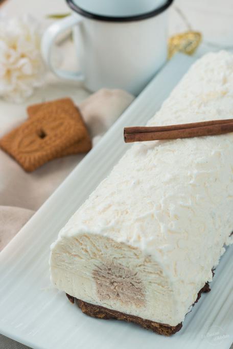 Bûche glacée vanille cannelle et spéculoos recette pour Noëll