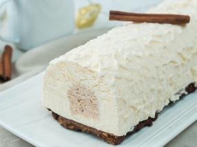 Bûche glacée vanille cannelle et spéculoos de Noël