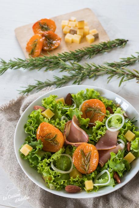 Salade aux abricots rôtis et vinaigrette aux figues recette