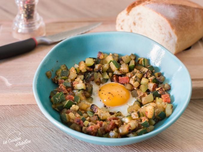 Courgette au chorizo et oeuf au plat recette