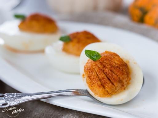 Oeufs mimosa citrouille comme des citrouilles recette apéro Halloween