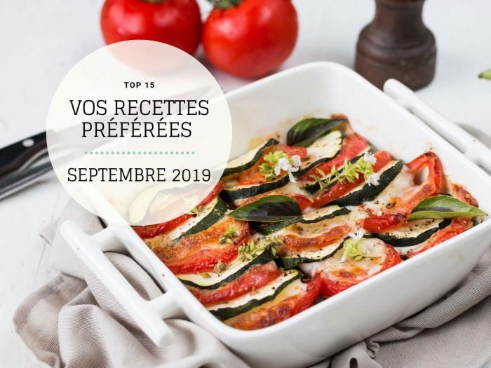 Recettes préférées Septembre 2019