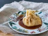 Aumônière de crêpe aux pommes sauce caramel recette