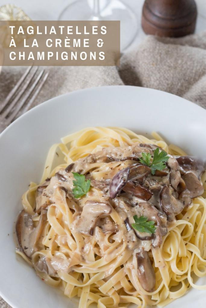 Tagliatelles sauce à la crème et champignons recette Pinterest