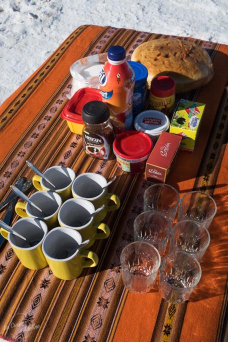 Petit déjeuner au Salar d'Uyuni
