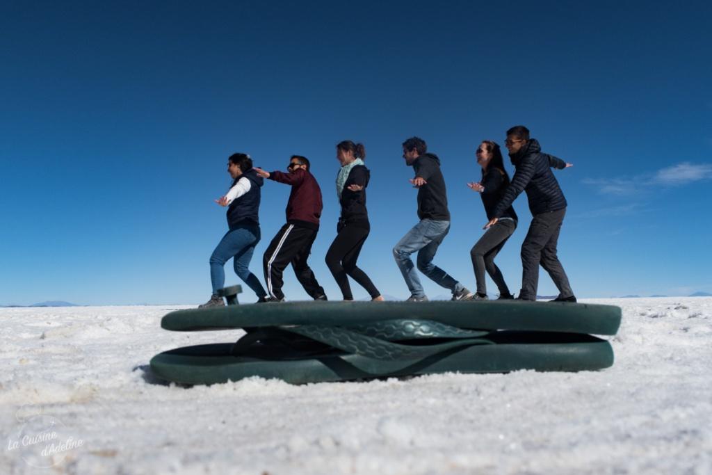 Photo en perspective au Salar d'Uyuni idée originale