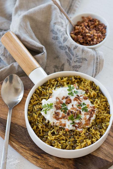 Riz aux lentilles aux 2pices mujadarra recettes libanaise