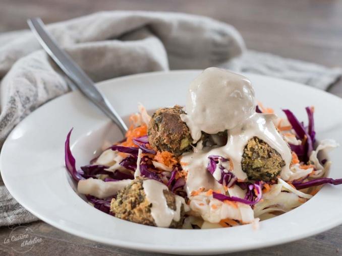Boulettes de lentilles sauce tahini recette facile