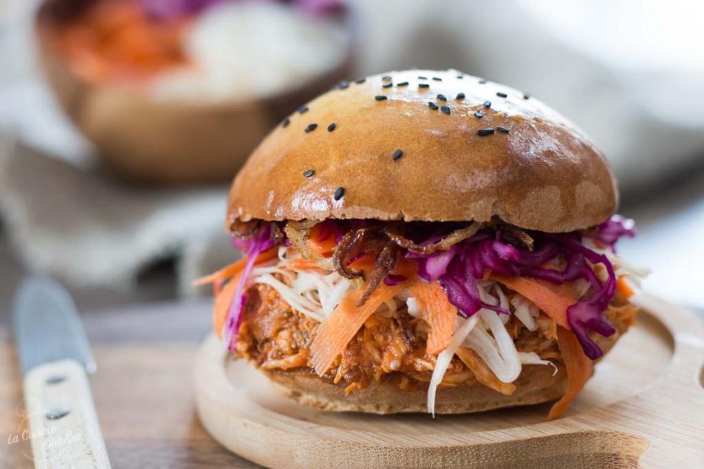 Burger au poulet façon pulled pork recette