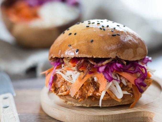 Burger au poulet façon pulled pork recette de saison