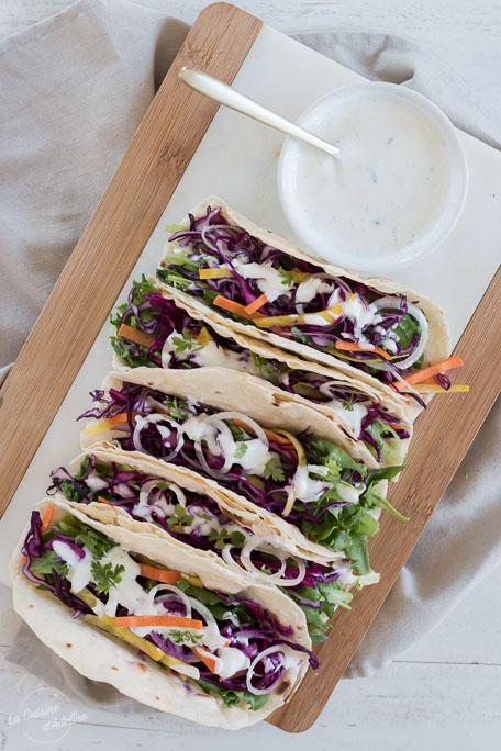 Tacos aux crudités sauce fromage blanc recette facile