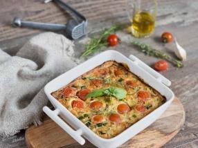 Clafoutis de courgette et tomates cerises