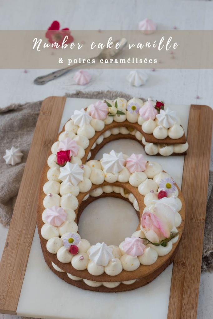 Number cake vanille et poires caramélisées recette Pinterest
